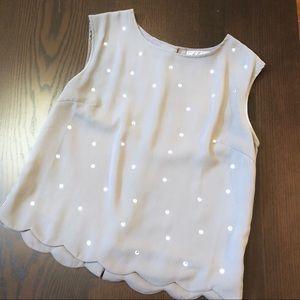 Chloe K gray scalloped hem rhinestone blouse NWOT